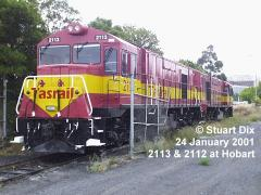 Recently rebuilt for Driver Only Operation, loco Z2113 stands in Hobart yard with sister Z2112 in Ja