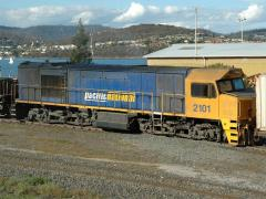 A grubby ZR2101 with PN standard blue number waits for departure on Train #36 from Hobart. March 200