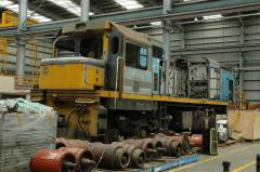 DC4588 undergoing rebuild at East Tamar Workshops, December 2005. The replacement motor block is sti