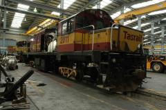 DQ2011 is shown in East Tamar workshops whilst undergoing a generator replacement and some bogie wor