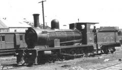 Emu Bay Railway's Avonside built Number 15 at Burnie. July 1947