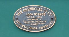 Drewry Car Company builders plate on V13