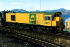 Freshly repainted ZB8 waits for departure time at Hobart on a Burnie bound train, December 1996