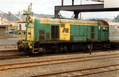 Y1 shunts container wagons between the wharf and yard at Burnie, January 1997