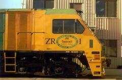 The distinctive slope of ZR1's cab is illustrated in this view, as is the commemorative markings to