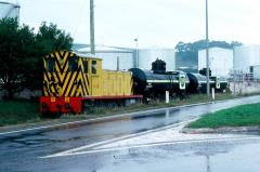 V2 shunts two BPT class oil tank wagons into the Devonport oil sidings, April 1982