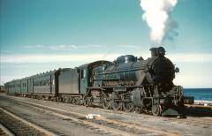 M2 at Burnie on the Devonport-Burnie Workers Train during 1958. This train conveyed employees to the