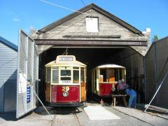 Trams 29 and 8 under restoration, March 2003