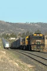 After having brought train 632 from Boyer to Tea Tree, the Hobart-based crew leave Tea Tree loop wit