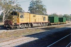 Z1 and a pair of FN wagons with the usual coal containers are stabled at Conara Junction, April 1981