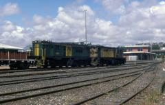 Grubby loco 859 and 864 sit in Burnie yard, February 1985