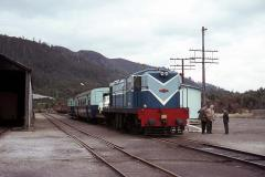 1001 and the <i>West Coaster</i> pauses at Rosebery, January 1964