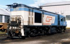 Still carrying its Queensland Railway's number and fittings, 2371S sits outisde the Launceston works