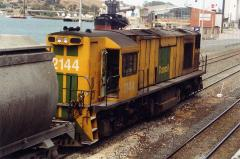 2144 pauses in Devonport yard with the now empty cement train before departing for Railton, February