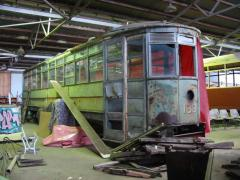 Hobart tram No. 133 awaiting restoration at TMAG workshops, February 2004
