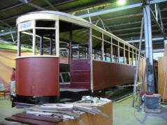 Hobart tram No. 118 undergoing restoration at TMAG workshops, February 2004