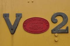 Cab side numbers and builders plate of V2; April 2010
