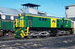 Freshly repainted in AN green livery, 856 stands outside the workshops building in Launceston yard,