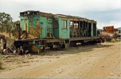The remains of 854 stand in the Sims Metal yard at Bell Bay, March 1990