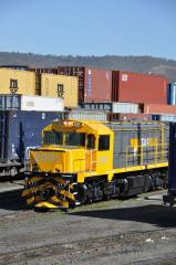 Newly released to service, loco 2001 displays the new TasRail corporate colour scheme as it sits in