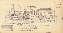 TGR outline diagram for C class locos (05) showing original style smokebox