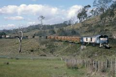 In December 1987 ZB5 and ZB12 head No. 9 Conara Junction to Boyer log/coal train over the Inglewood