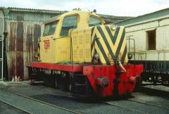 W1 sits out of use at the Launceston roundhouse in April 1980. The loco would linger for another yea