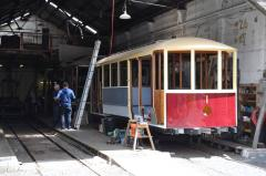 Launceston tram No. 1 under restoration at the Launceston Tramway Museum, December 2011
