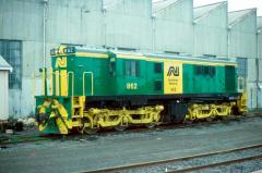 On its first week in Tasmanian service, 862 sits outside the Wheat Shed in Hobart yard, July 1984