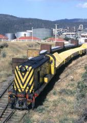 Y7 collects some vacuum-braked wagons loaded with fertiliser at Risdon on 29 December 1980. These wi
