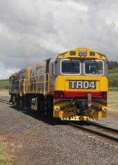 Making its first trip outside the Launceston area, new loco TR04 trails DQ2006 at Relbia as the pair