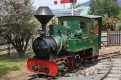 The Redwater Creek Railway's Krauss locomotive and ex North East Dundas Tramway carriage wait at She